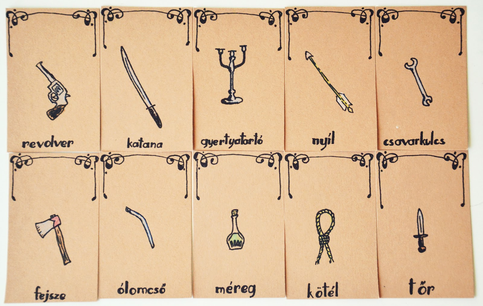 Cluedo Weapon Cards