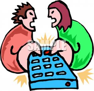 Couple Fighting Over The Remote Control   Royalty Free Clipart Picture