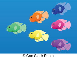 Fish   A Vector Image Of Jellybean Or Parrot Cichlid Fish In