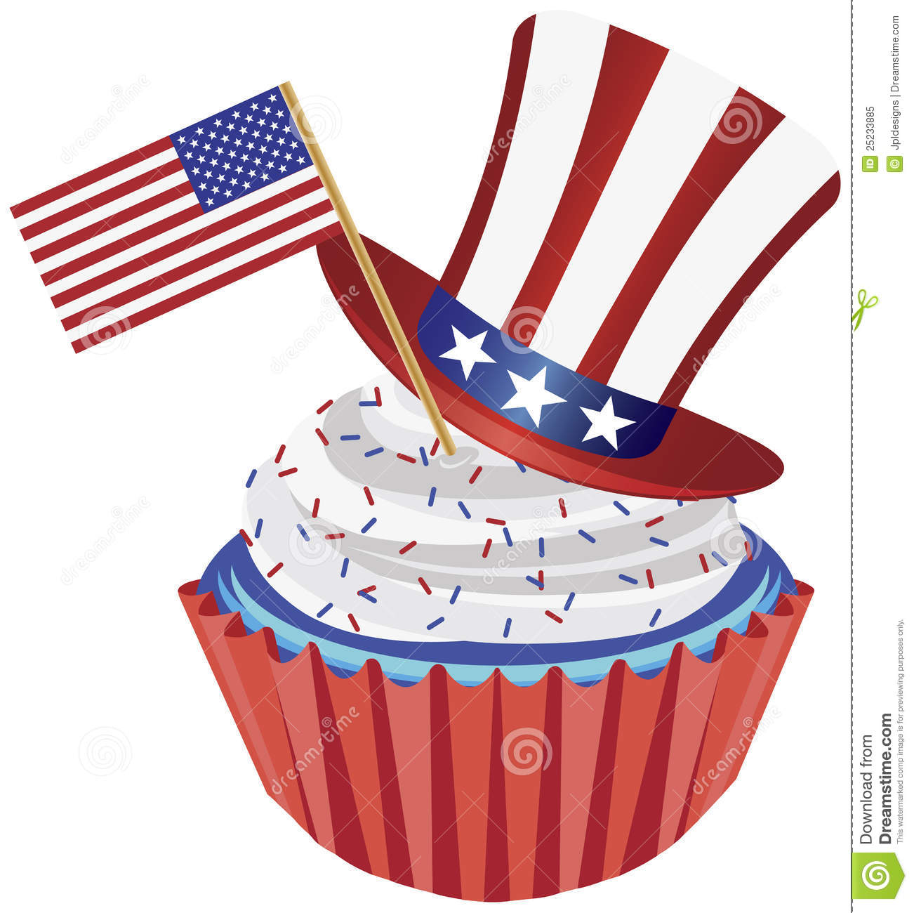 Free Clip Art July Th Th Of July Cupcake With Flag And Hat