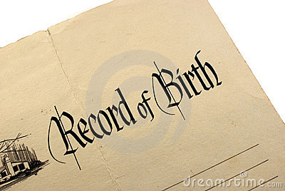 Generic And Blank Birth Certificate Or Record Of Birth