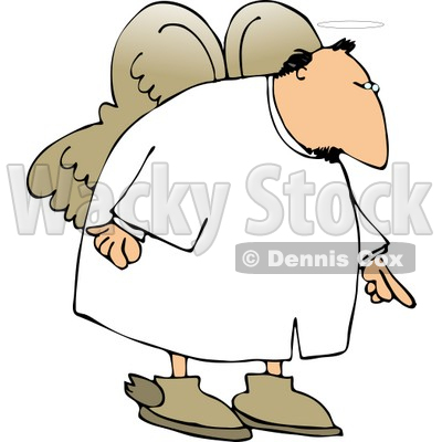 Male Angel Pointing Finger Down Clipart   Dennis Cox  4118