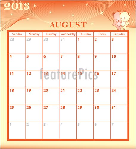 Month Of August Clipart Calendar 2013 August Month