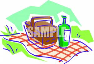 Picnic Basket On A Checkered Blanket   Royalty Free Clipart Picture