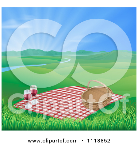 Picnic Blanket And Basket With Red Wine In A Hilly Spring Landscape