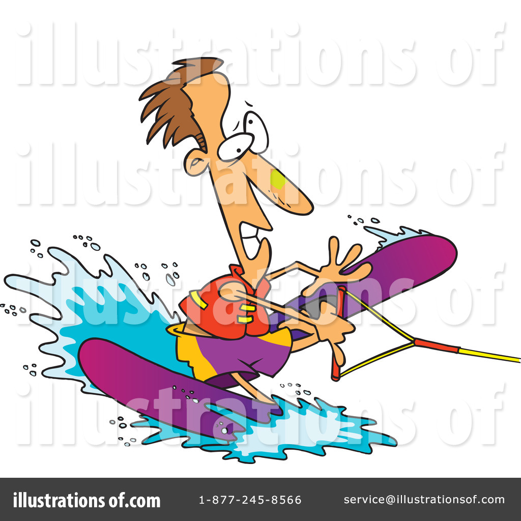 Royalty Free  Rf  Water Skiing Clipart Illustration By Ron Leishman