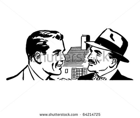 Two Men Talking   Retro Clipart Illustration   Stock Vector