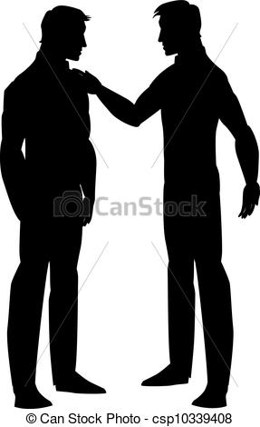 Vector Clipart Of Silhouette Of Two Men Talking Illustration