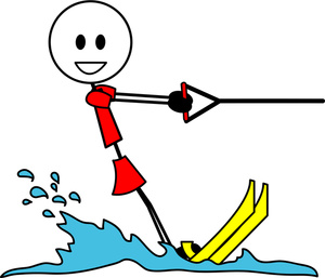 Waterskier Clipart Image   Stick Girl Water Skiing