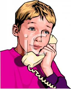 Boy Talking On The Phone   Royalty Free Clipart Picture