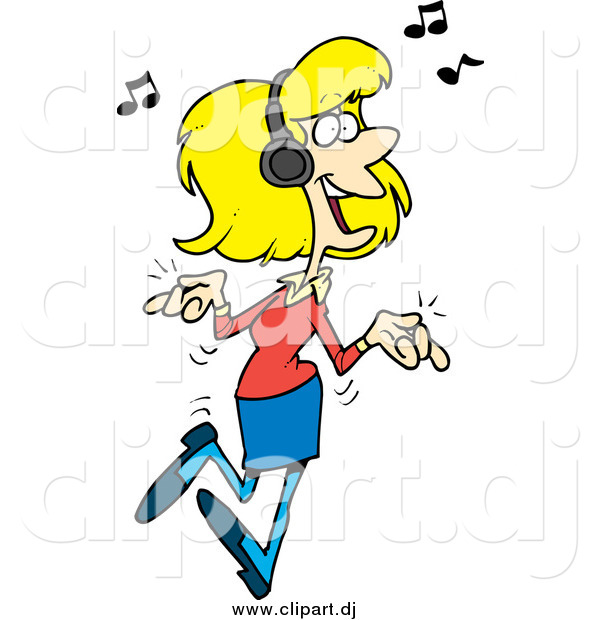 Cartoon Vector Clipart Of A Blond White Woman Dancing And Listening To