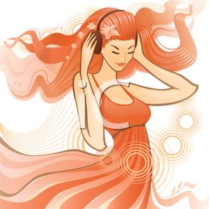 Clipart Image  A Teen Girl Listening To Music