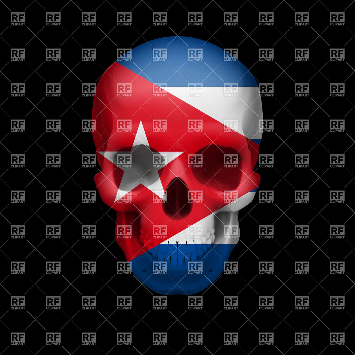 Human Skull With Flag Of Cuba Download Royalty Free Vector Clipart