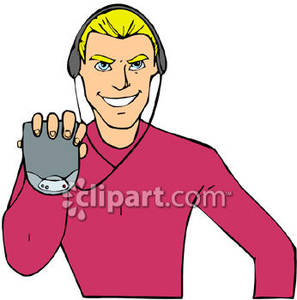 Man Listening To A Portable Cd Player   Royalty Free Clipart Picture