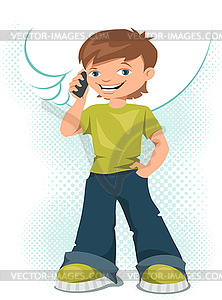 Young Teen Boy Talking On His Mobile Phone   Vector Eps Clipart