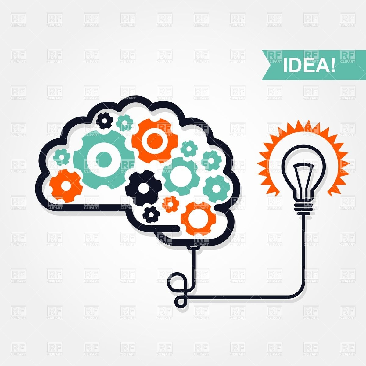 Business Idea Or Invention Icon   Brain With Gear Wheel And Light Bulb