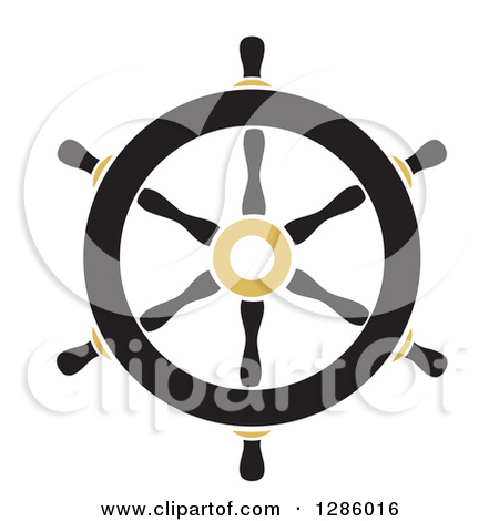 Clipart Of A Black And Gold Nautical Ship Helm Steering Wheel