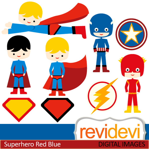 Flash Superhero Clipart Clipart Superhero Red Blue 07415   Commercial