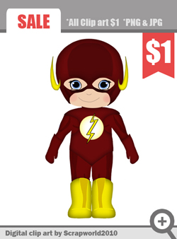 Flash Superhero Clipart For Boy