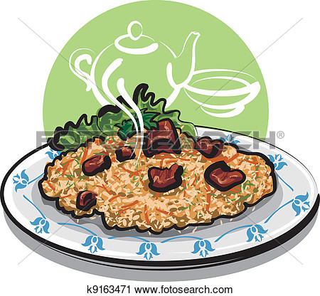 Pilaf  Rice With Meat   Fotosearch Search Clip Art Illustration