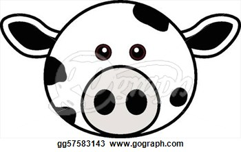 Stock Illustration   Cute Cow Face  Clipart Drawing Gg57583143