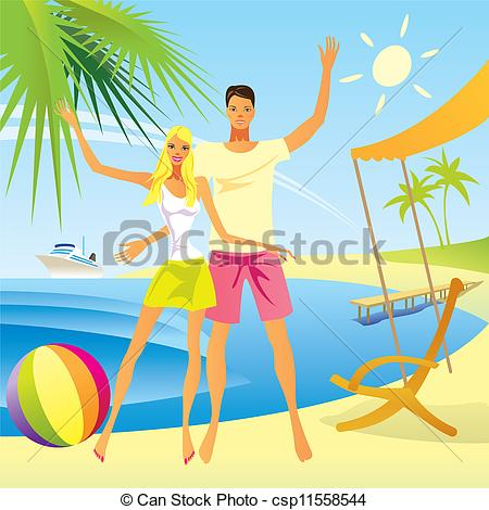 Vector Of Romantic Couple Enjoy The Vacation   Romantic Couple Enjoy