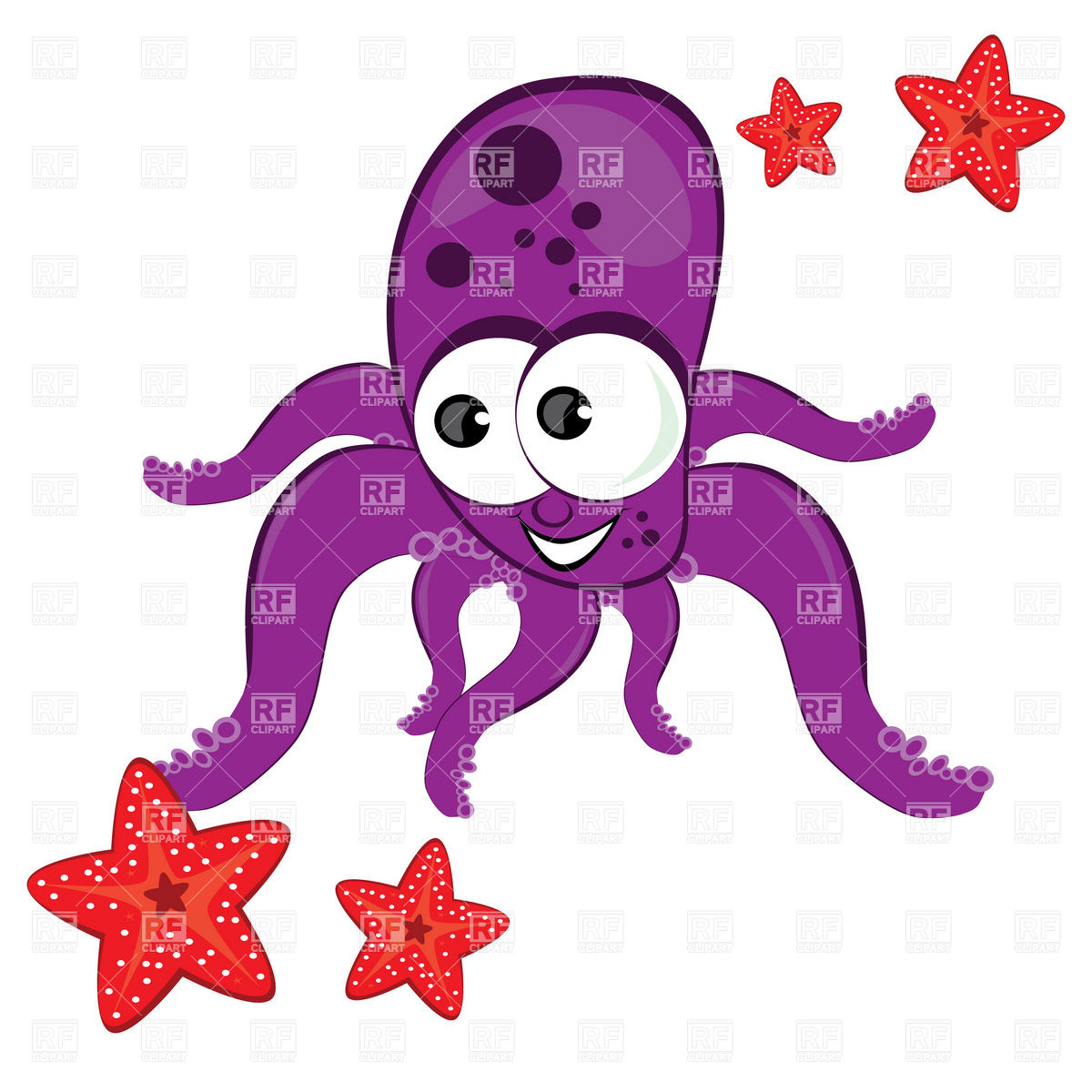 Cartoon Octopus With Starfish Download Royalty Free Vector Clipart
