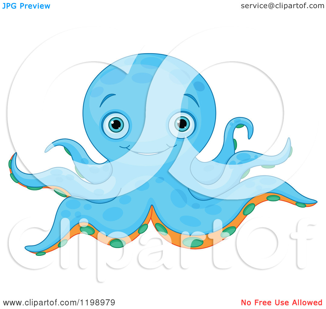 Cartoon Of A Cute Blue Octopus With Orange And Green Under Sides