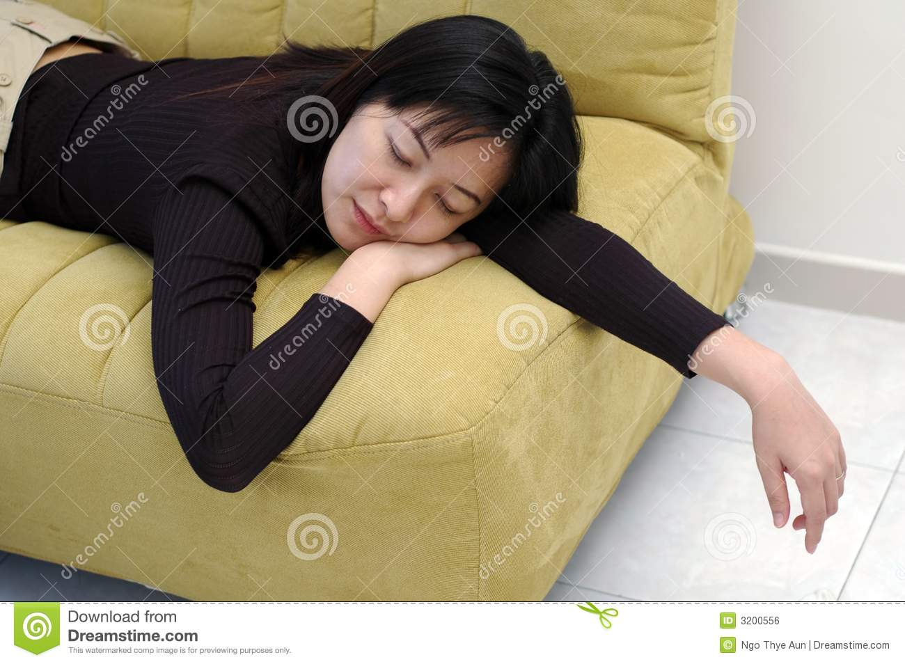 Chinese Asian Lady Fall Asleep On Sofa At Home Mr Yes Pr No 2 551 3