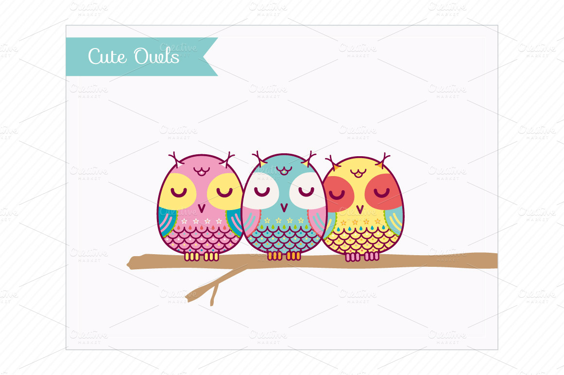 Clip Art Cute Owls   Illustrations On Creative Market