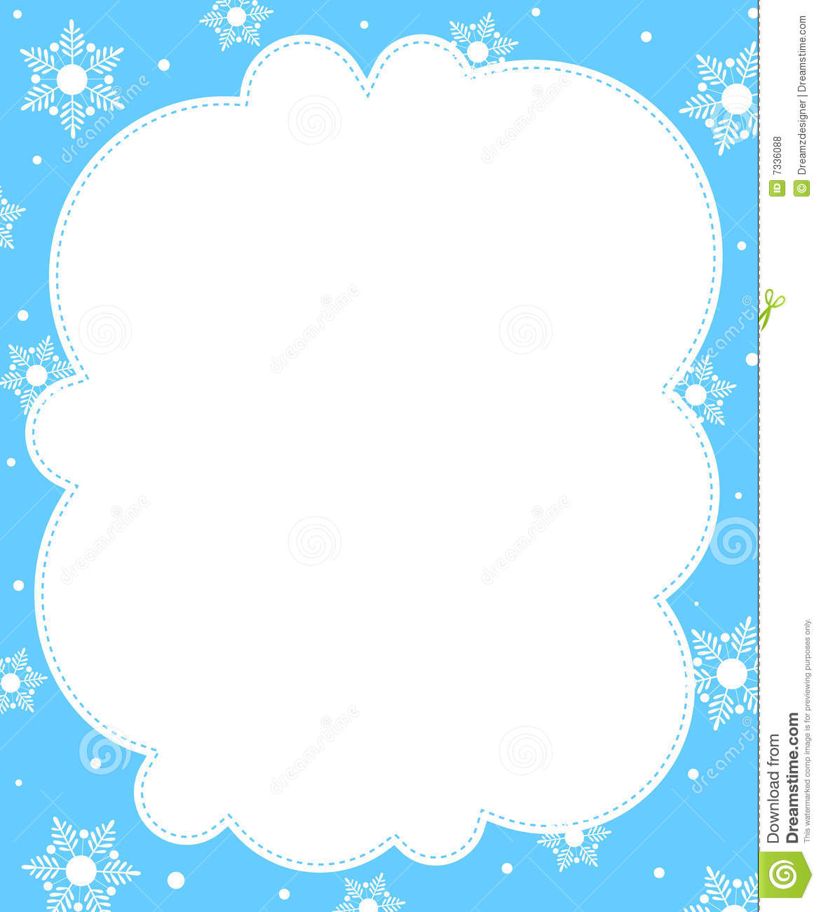Cute Snowflakes Christmas   Winter Border   Frame  Falling Snow On