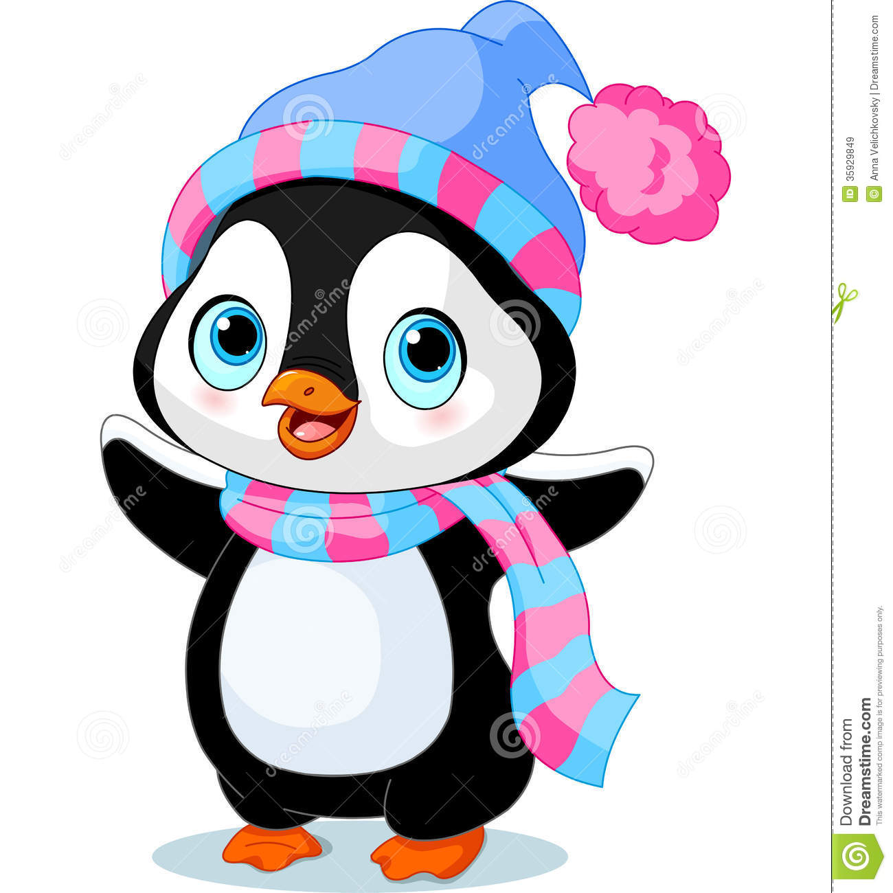 Cute Winter Penguin Royalty Free Stock Images   Image  35929849
