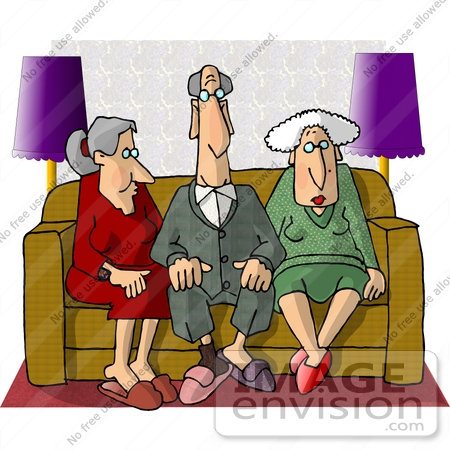 Group Of Retired Seniors Sitting On A Couch Clipart    14765 By Djart