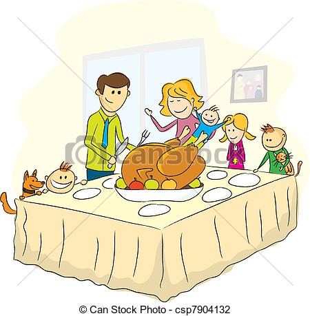 Illustration Of Thanksgiving Day Family Picture   Vector Thanksgiving