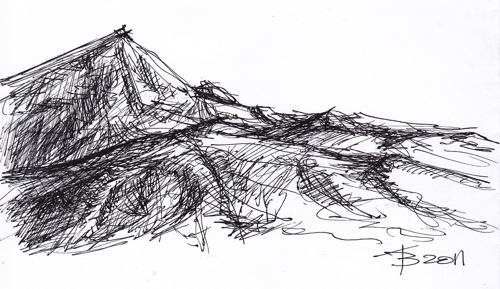 Scribble Sketch Drawing : Mountain sketch clipart suggest