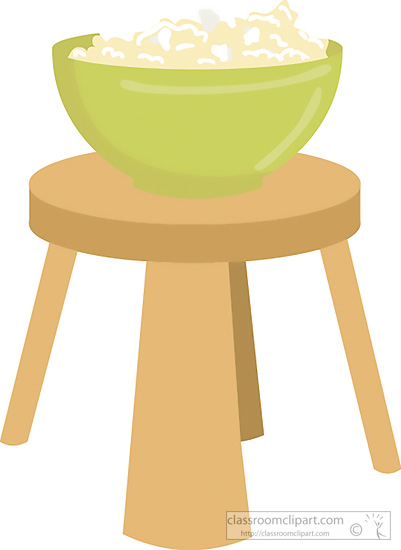 Objects   Bowl Popcorn On Stool   Classroom Clipart