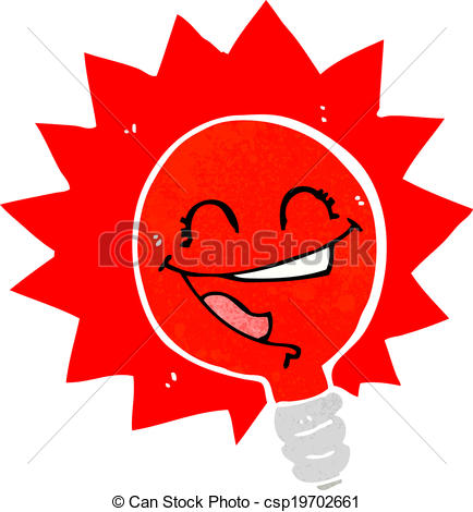 Of Happy Flashing Red Light Bulb Cartoon Csp19702661   Search Clipart