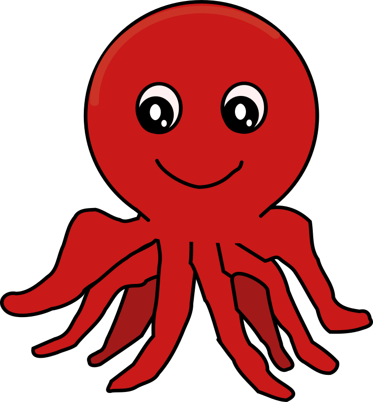Red Cartoon Octopus