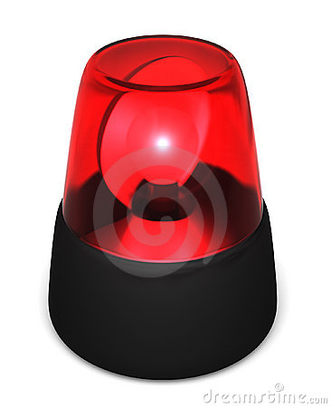 Red Flashing Emergency Light On A White Background