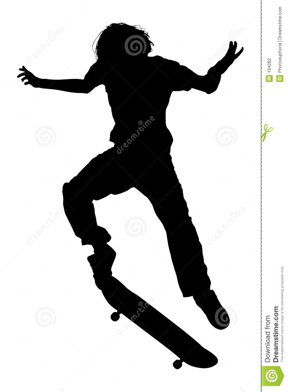 Silhouette With Clipping Path Of Teen Boy On Skateboard Jumping Stock