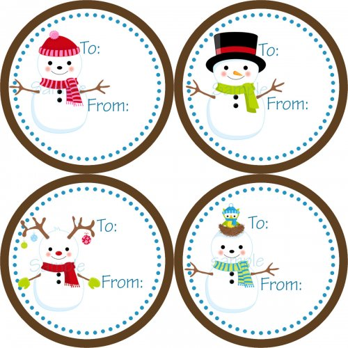 Snowman Christmas Gift Tag Stickers   4 Cute Colorful Winter Snowm