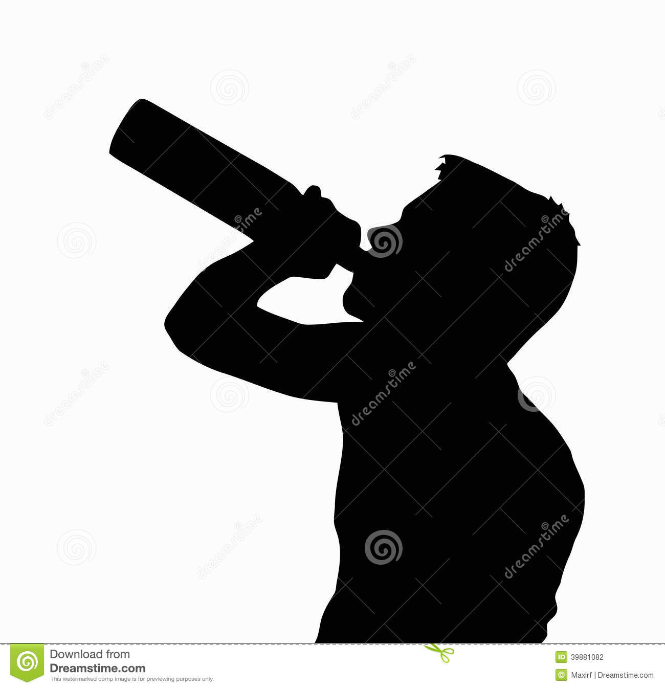 Teen Boy Silhouette Drinking Alcohol From Bottle Stock Vector   Image