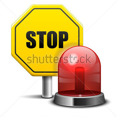 Vector Illustration Of Red Flashing Emergency Light And Stop Sign