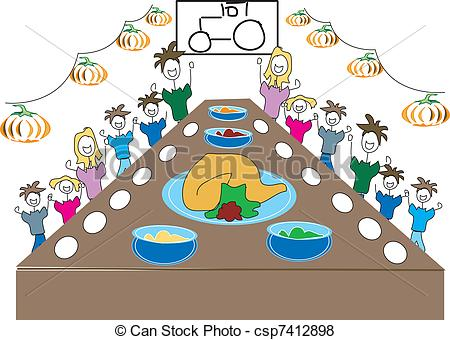 Vector Of Thanksgiving Dinner With The Family Csp7412898   Search Clip