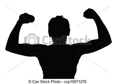 Vector   Teen Boy Silhouette Exercising Muscles   Stock Illustration