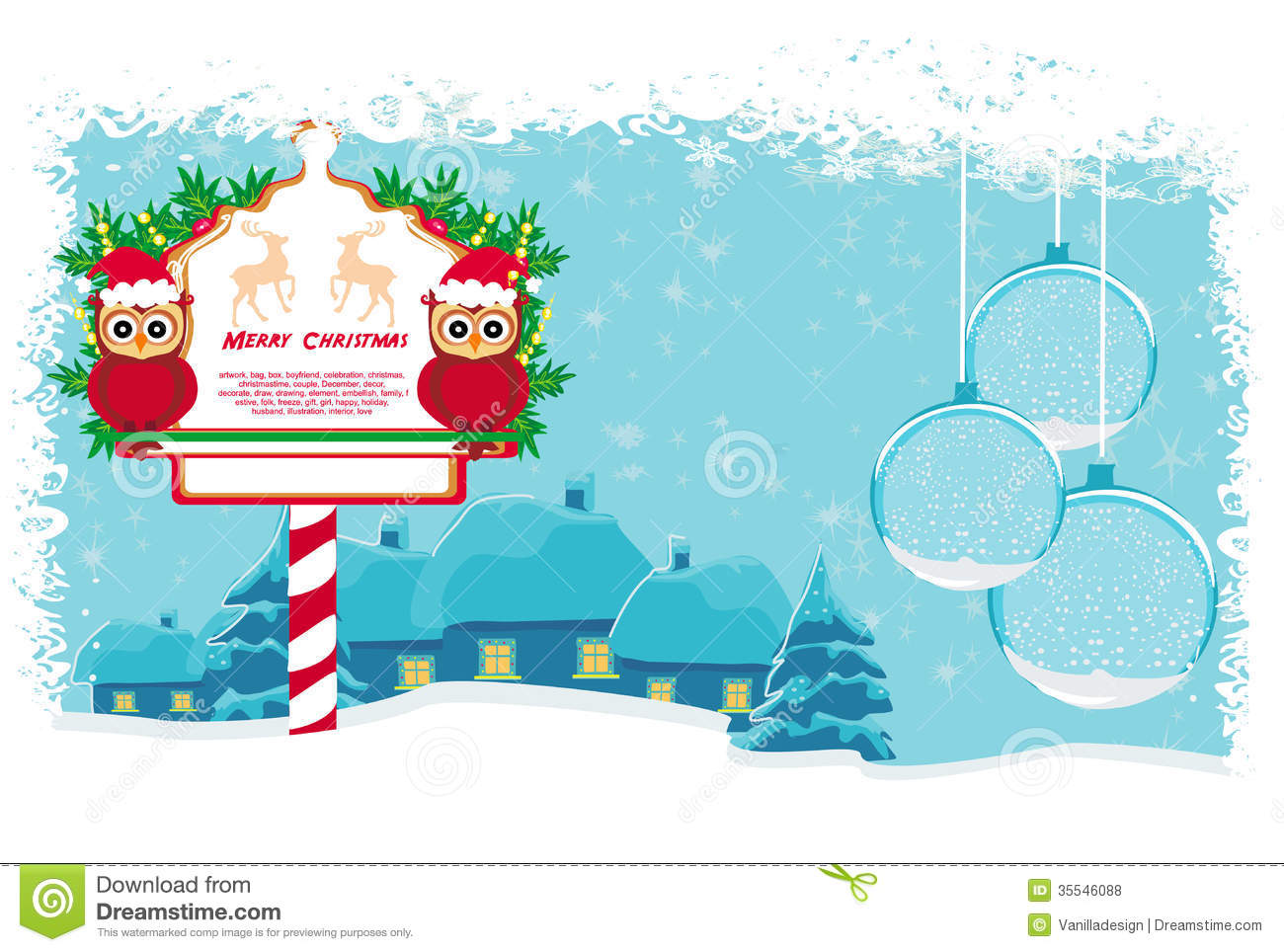 Winter Card With Cute Owls Royalty Free Stock Photos   Image  35546088
