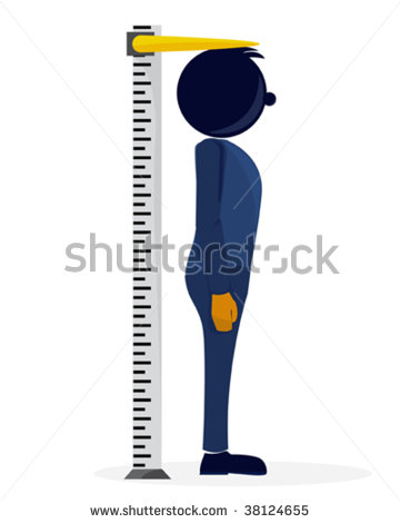 An Illustration Of A Stylized Character Measuring His Height   Stock