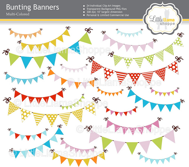 Bunting Banners Clip Art   Digital Pngs From Littlellamashop