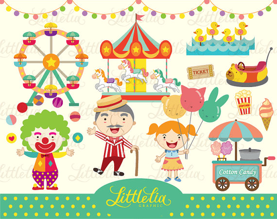 Carnival Cute Clipart Set   Instant Download By Littleliagraphic
