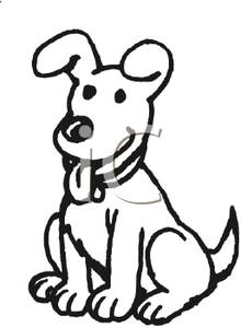 Cartoon Dog With His Tongue Hanging Out   Royalty Free Clipart Picture
